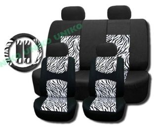 Zebra Mesh Seat Covers Set White Black Print Steering Wheel Cover 4 Headrests