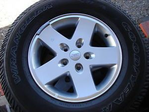 "5 17"" 2012 Jeep Wrangler Sahara x 5 Spoke Wheels Rims Alloys Goodyear Tires"