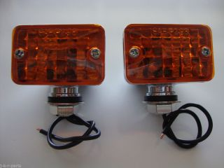 Chrome Mini Turn Signal Lights Running Lights 12 Volt Fits Chevy Ford Hot Rods