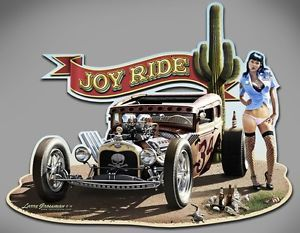 "Hot Rod Rat Rod Art Metal Sign by Larry Grossman ""Joy Ride"""