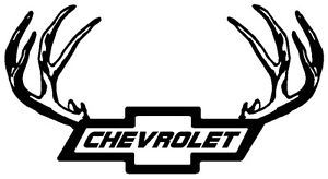 Chevy Logo w Antlers Vinyl Decal Sticker Duramax Diesel Truck Buck Deer
