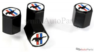 4 Ford Mustang Logo Black ABS Tire Wheel Stem Air Valve Caps Covers Set