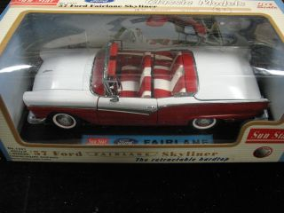 1957 Ford Fairlane Skyliner Red White Retractable Top Sun Star 1 18 Mint