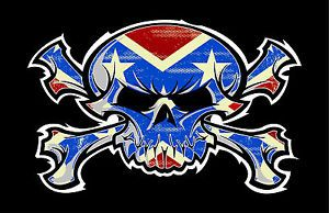 Skull and Crossbones Confederate Flag Decal Sticker for Redneck Pirates P133