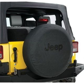 "Jeep Wrangler Black Denim Spare Tire Cover 31"" Mopar Black Jeep Logo"
