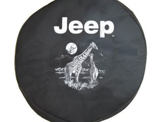 Sparecover® Brawny Series Jeep 32 Giraffes on Black Denim Tire Cover
