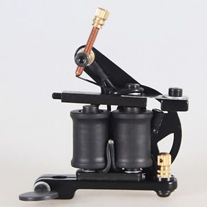 New Black Liner Tattoo Machine Gun 10 Wrap Coils Handmade Tattoo Machine Supply