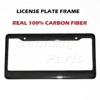 100 Real Carbon Fiber License Plate Frame Tag Cover Twill Front Rear STYLE2