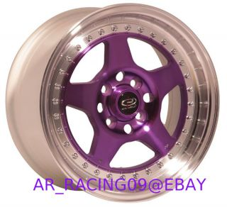 15x7 4x100 38 Rota Kyusha Purple Civic Integra Miata Mini Cooper Del Sol MR2