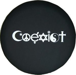"Sparecover® Brawny Series Coexist 32"" 33"" Black Denim Vinyl Tire Cover"