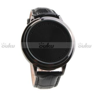 ZH3 Touch Screen Black Leather Blue LED Flashing Digital Wrist Watch