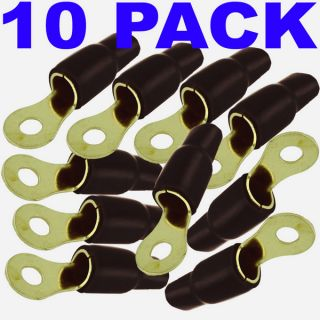 0 Gauge 10 Pack Gold Ring Terminal Connector Ground Black Free SHIP