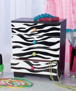 Zebra Print Trendy Wooden Jewelry Box for Girl Teenager Tween Bedroom Decor New