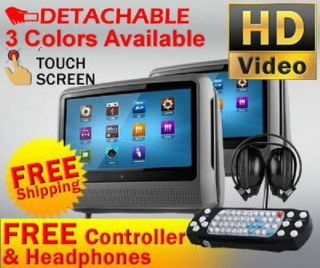 "New Gray Pair 9"" Digital Touchscreen Headrest LCD Car Monitor 2 DVD Player USB"