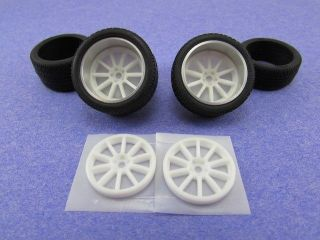 Resin Sportec Mono 10 Wheel and Tire Set Aluminum Rings Tamiya Tires Mint New
