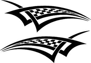 "Racing Checkered Graphics Vinyl Car Decals 20"" x 7"""