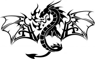 Winged Tribal Dragon Car Truck Vinyl Decal Sticker  Squeegee 012