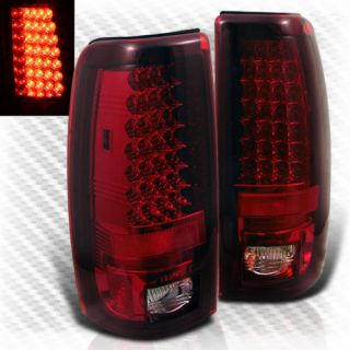 99 02 Silverado Sierra Full LED Tail Lights Lamps Rear Brake Pair Taillights Set