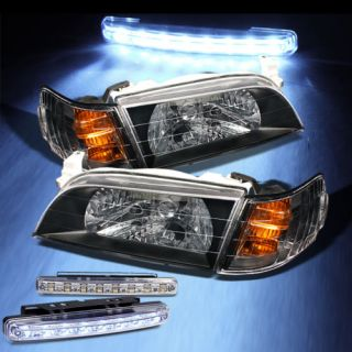 LED Bumper Fog Lights 93 97 Toyota Corolla Crystal Headlights Black Pair Set New