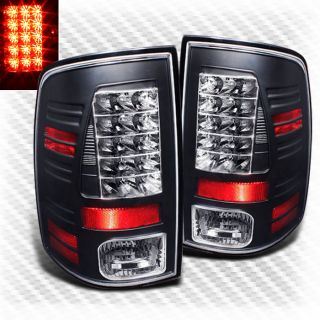 2009 2013 Dodge RAM LED Black Tail Lights Lamps Rear Brake Pair Taillights Set