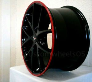 Piano Black Spyder Corvette Wheels with Custom Red Lip 2006 2013 C6 Z51