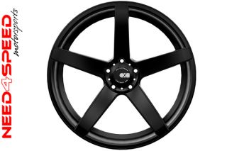 "22"" XO Miami Matte Black Concave Wheels 5 Spoke 22x9 Rims Fits Audi A8"