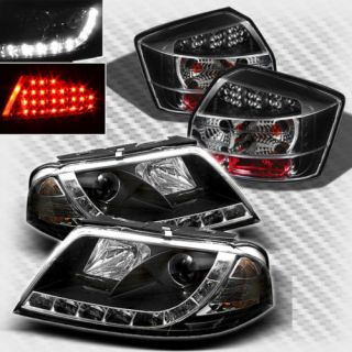 02 05 Audi A4 S4 DRL LED Projector Black Headlights LED Tail Head Lights Set