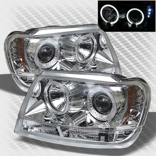 1999 2004 Jeep Grand Cherokee Dual Halo LED Projector Headlights Head Lights Set