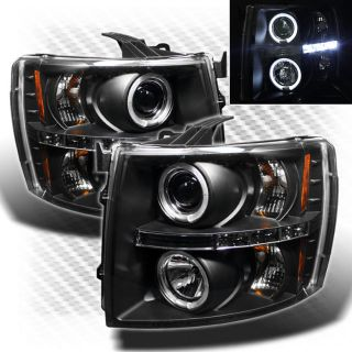 2007 2013 Chevy Silverado Twin Halo LED Projector Headlights Black Head Lights
