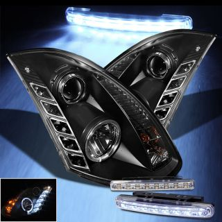 LED Bumper Fog 03 07 Infiniti G35 2 Door Halo Projector Headlights Head Lights