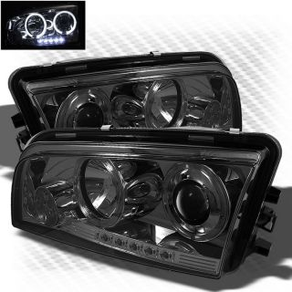 Smoked 06 10 Dodge Charger Twin Halo LED Projector Headlights Smoke Head Lights