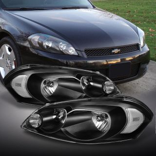 06 12 Chevy Impala 06 07 Chevy Monte Carlo Black Clear Crystal Headlights Lamps
