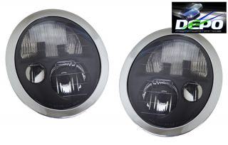 02 04 Mini Cooper Black Head Light Depo Pair Set 03