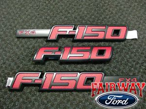 2009 thru 2014 F 150 Genuine Ford Parts Red FX4 Fender T Gate Emblem Set
