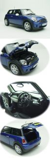 1 18 Diecast BMW Mini Cooper Cabrio Royal Blue White Roof Dealer's Ed by Kyosho