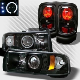 1994 2001 Dodge RAM LED Halo Projector Headlights Tail Lamp Head Lights Set Pair