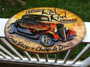 "Custom Hot Rod Garage Sign Metal Embossed 20x14"" Duece Coupe Ford Rat Rod"