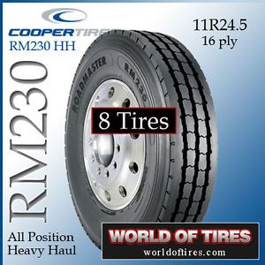 8 Tires Roadmaster RM230 HH 11R24 5 16 Ply Semi Truck Tire 11245