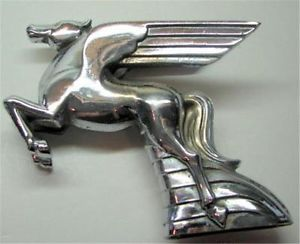 RARE Vtg Antq Car Truck Hood Ornament Mobil Flying Horse Pegasus Cast Plated