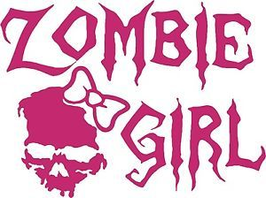 Zombie Girl Skull Walking Dead Car Truck Window Laptop Vinyl Decal Sticker