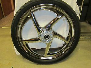Harley Davidson Reaper Mirror Chrome 21 inch Front Wheel and Tire