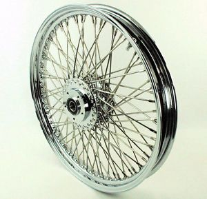 "21"" x 2 15"" Chrome 80 Spoke Front Wheel Harley Softail Chopper DNA Springer"