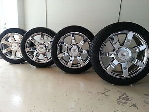 "4 Factory Chrome Escalade Wheels 22"" Bridgestone HL Alenza Tires 285 45 22 5309"