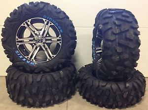 "ITP SS212 14"" Wheels Machined 26"" Bighorn Tires Yamaha Grizzly Rhino"
