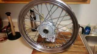 "Genuine Harley Sportster Dyna Chrome Front 19"" Laced Spoke Wheel for 39mm Forks"