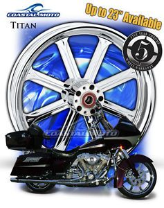 "Coastal Moto Titan Chrome Motorcycle Wheel 21"" Harley Front Package w Tire PM"