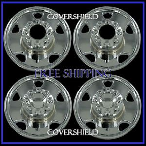 "4pc Set F250 F350 4x4 17"" Chrome Wheel Skins Rim Hub Cap Cover 8LUG Steel Wheels"