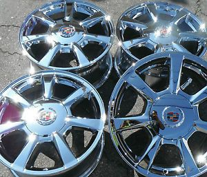 "17"" Cadillac cts New Chrome Rims Wheels Factory GM Caps 4 Set Outright 5x120"