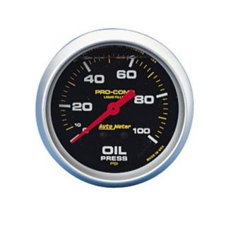 "New Auto Meter 2 5 8"" Pro Comp Liquid Fill Oil Pressure Gauge 0 100 PSI Black"