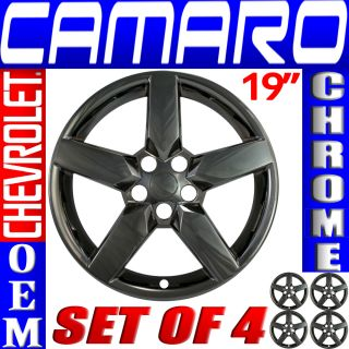 "4 PC Set Chevy Camaro 19"" Black Chrome Wheel Skins Rim Covers Hub Caps Wheels"
